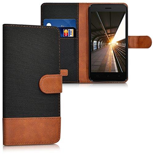 kwmobile Lenovo K6 Hülle - Kunstleder Wallet Case für Lenovo K6 mit Kartenfächern und Stand