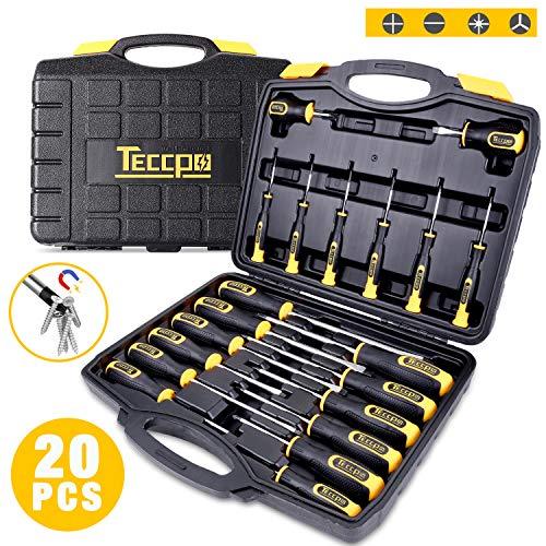 Set di Cacciaviti, TECCPO Magnetici 20 Pezzi Kit Cacciaviti, Utensili di Riparazione per Trapano, Cacciaviti Piatti, Cacciaviti a Croce-THTC03H