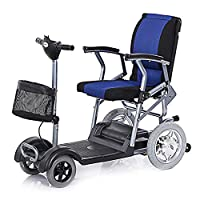 EMOGA Light And Compact, Foldable,4 Wheel Power Electric Travel And Mobility Scooter,46Cm Wide Seat,27Kg,Black Blue
