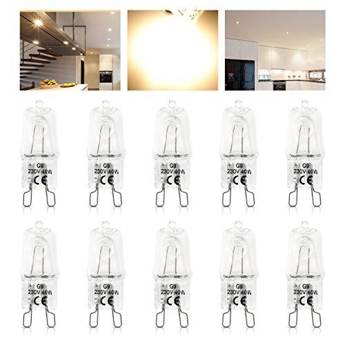 KINGSO G9 Glühlampe Dimmbar 40W Halogenlampe Kleine Glühbirne 3000K-3500K WarmWeiß Leuchtmittel 220-230V 10 Stück