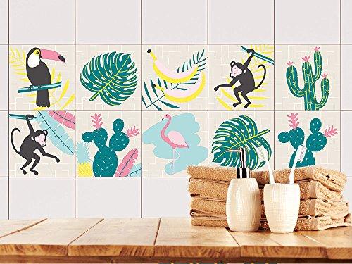 GRAZDesign Fliesenaufkleber Bad modernes Design - Klebefliesen Palmblättern - Fliesenfolie Bad Tropischen Pflanzen - Fliesenaufkleber Küche Monstera Muster / 15x15cm / 770519_15x15_FS30st -