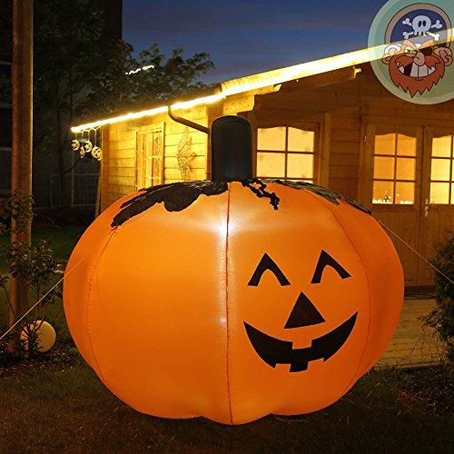 Halloween Hoch (Halloween Kürbis 1,5 m hoch mit LED beleuchtet aufblasbar für den Garten von)
