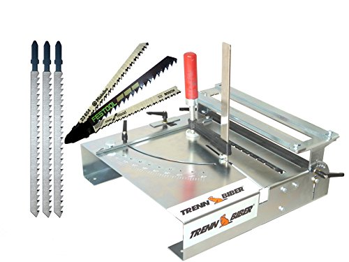 Sägetisch 012L+ Sägeblätter von Bosch Metabo Festool u. 3 lange Holz T-Schaft Stichsägeblätter für Stichsägen als Laminat Schneider, Sägestation