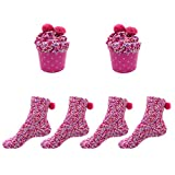 iZoeL 2 Paare Kuschelsocken Damen Socken mit Geschenk-Box Farbige Socken Mädchen Haussocken Flauschige Socken Winter Weihnachtssocken