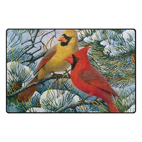 FAJRO Winter-Kardinals-Vlies-Tapeten-Schmutzfangmatte, Mehrfarbig, für drinnen und draußen, Polyester, 1, 31 x 20 inch - Kardinäle Polyester