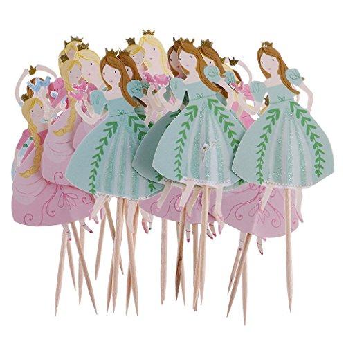 Nopea Holz Cupcake Tabs Zahnstocher Partei Kuchen Cocktail Dekor Tanzen Prinzessin Cupcake Picks Prinzessinnen Cupcake Dekoration 24 Stück ein Sate