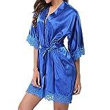TianWlio Damen Dessous Spitzen Nachtwäsche Satin Nachtwäsche Dessous Pyjamas Anzug (Blau, 2XL)