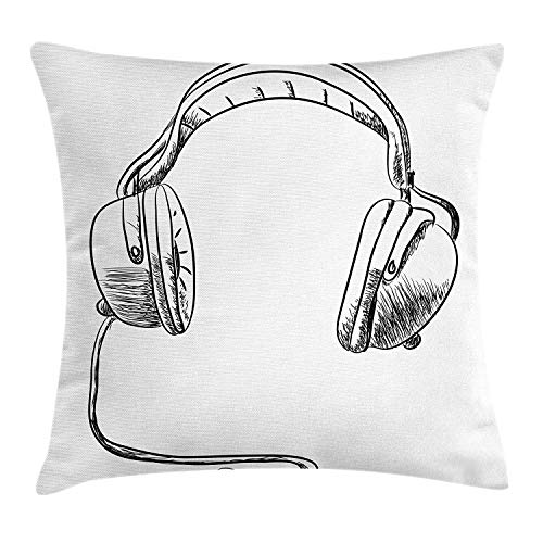 ushion Cover, Sketch Style Hand Drawn DJ Headphones Rhythm Radio Modern Hippie Art Illustration, Decorative Square Accent Pillow Case, 18 X 18 Inches, Black White ()