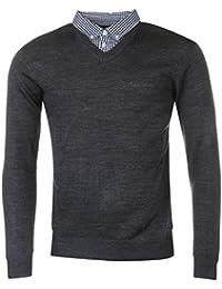 Pierre Cardin neue Jahreszeit V-Ausschnitt-Pullover mit Hemdkragen Mock Hemd Einsatz