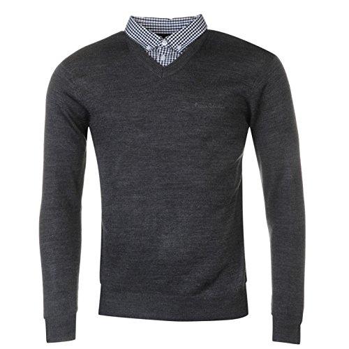 Pierre Cardin Herren Strickpullover V-Ausschnitt mit Hemdkragen-Einsatz Gr. L, anthrazit - Wolle Herren Golf-pullover