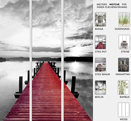 EFIXS 3er Set Flächenvorhang - Motiv Steg Rot - halbtransparent und lichtdurchlässig - Paneelbreite: 60 cm x H: 245 cm - Gesamt 180 x 245 cm - incl. Flauschband, Paneelwagen und Beschwerungsprofil (Flächenvorhänge Rot)