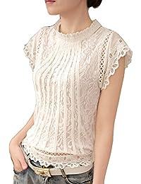 434d68ed8dba73 Cheerlife Elegant Damen T-Shirt Spitze Langarmshirt Kurzarmshirt Spitzenshirt  Top Bluse Shirt Tunika Hemd