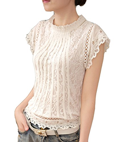 Cheerlife Elegant Damen T-Shirt Spitze Langarmshirt Kurzarmshirt  Spitzenshirt Top Bluse Shirt Tunika Hemd 2XL Weiß 7004f9af16