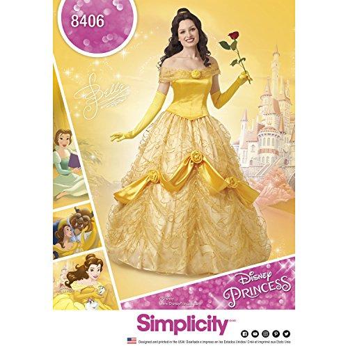 """Simplicity, cartamodello 8406per costume da donna """"La bella e la bestia"""" Disney, su carta, colore bianco, 22x 15x 1cm (istruzioni in lingua italiana non garantite)"""