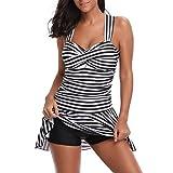 iBaste Tankini Damen Bikini Neckholder Push Up Badekleid mit Hotpants Badeanzug Swimsuit Bikini Set-BK-M