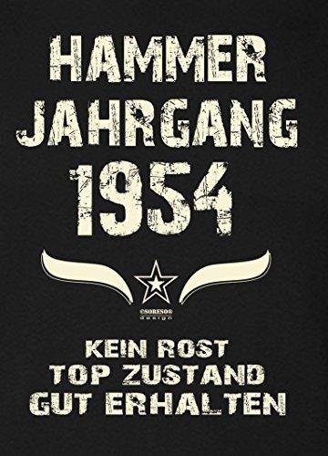 Geschenk-Set für Männer :: Hammer Jahrgang 1954 : Herren Kurzarm T-Shirt : Geschenkidee zum 63. Geburtstag : Geburtstagsgeschenk auch in Übergrößen Farbe: schwarz Schwarz