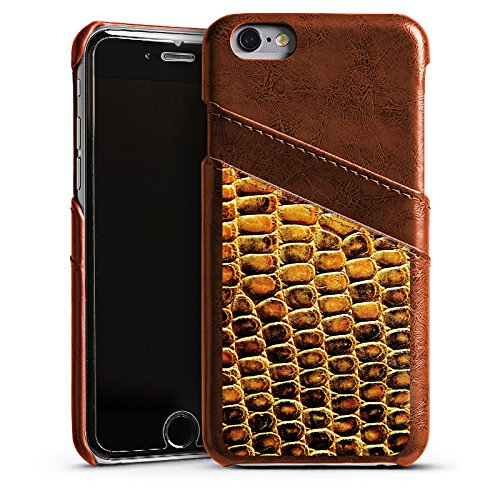 Apple iPhone 6 Housse Étui Silicone Coque Protection Peau de reptile Peau de serpent Look cuir Étui en cuir marron