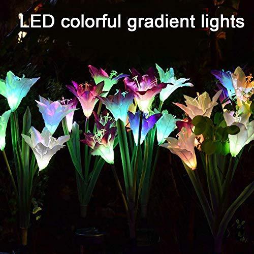 r-Lilie Blume Garten Licht LED Mehrfarbig wechselnde Stake Outdoor Landschaft Grasland Party Deko für Terrasse Hof, Weg Dekoration ()
