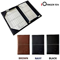 Finger Ten Golf Scorecard Holder Leather with 2 Free Score Sheets and Two Pencils, Color Black Brown Navy Value Pack