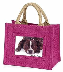 Advanta–Mini Pink Jute Tasche Staff Bull Terrier 'Love You Mum' Little Mädchen klein Einkaufstasche Weihnachten Geschenk, Jute, pink, 25,5x 21x 2cm