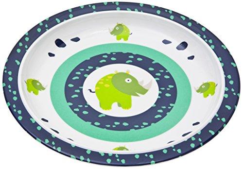 LÄSSIG Teller Kinder Baby Kleinkind rutschfest spülmaschinengeeignet Melamin/Plate Wildlife Rhino