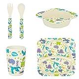 Tiny Dining Set di stoviglie per Bambini - in bambù - Piatto, Scodella, Tazza, forchetta e Cucchiaio - Tema Dinosauri