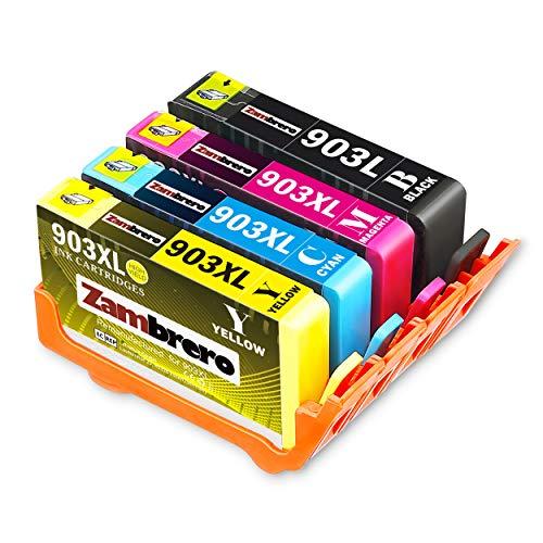 Zambrero Ersatz für Druckerpatronen HP 903XL 903 XL Multipack (Schwarz, Rot, Gelb, Blau) mit hoher Reichweite für HP OfficeJet 6950 HP OfficeJet Pro 6960 6970 -