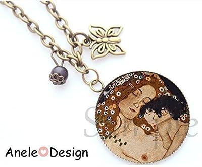 Collier amour baiser Klimt - noir marron