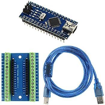 Nano V3.0 AVR ATMEGA 328P-20AU-Modul-Brett Blau mit USB Kabel TOOGOO R