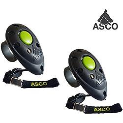 ASCO 2x Clicker professionnel pour doigt , Entraînement Dressage pour chiens chats chevaux , 2 pièces Finger Clicker de formation , noir AC01F2X