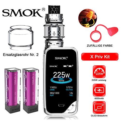 Elektronische Zigarette,Authentic Smok 225W X Priv Kit,Vapes Starter Kit mit Touchscreen und TPD-Tank,Ohne Nikotin, Ohne Flüssigkeit(Prisma verchromt) (E-flüssigkeit Zigarette Elektronische)
