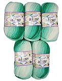 5 x 100g Babywolle Bebe Batik grün weiß Nr. 6317, 500 Gramm Wolle zum Stricken und Häkeln