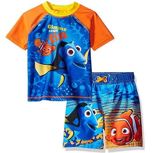 Finding Nemo Dory Boys Swim Trunks and Rash Guard Set (4T, Blue/Orange) (Swim Trunk 4t)