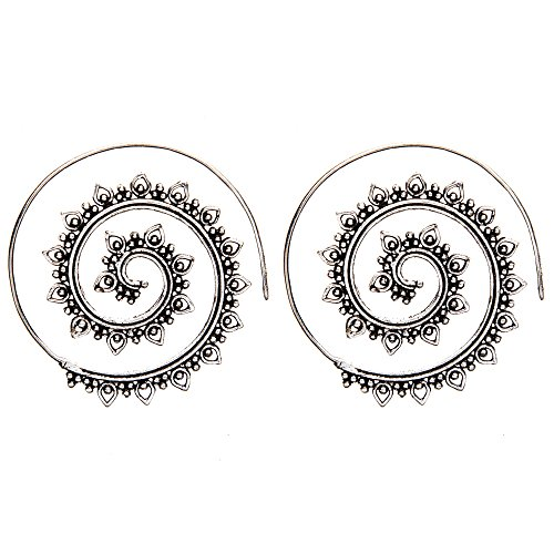 81stgeneration Frauen Messing Silber Ton Teardrop Dotwork Spiral Stammes Ethnische Ohrringe