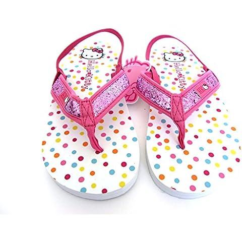 Sanrio Hello Kitty–Niñas Pretty Hello Kitty Tanga Flip Flop/Sandle–Tamaño 12/13EU