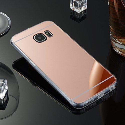Etsue Schutzhülle für Samsung Galaxy S7 Edge Spiegel Hülle Mirror Case Luxus Schutzhülle Ultradünnen Weiche Silikon Durchsichtig Kristall TPU Silikon Crystal Handytasche Handyhülle Spiegel Rose Gold
