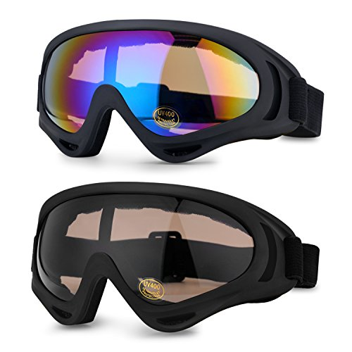 2 Packs Ski Goggles for Adult and Youth, UV400 Protection, ODOLAND Windproof Dustproof Glasses for Snowboarding, Skating and Sledding