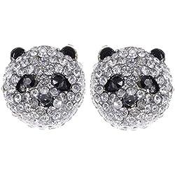 Alilang Pendientes de tuerca, color plateado, cristales transparentes, piedras de colores de cristal, diseño de cabeza de oso panda