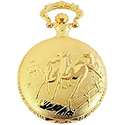 Dawn Pocket Watch Quartz White Gold Silver Horse Metal Fob