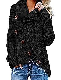 SHOBDW Mujer Moda Primavera Otoño Botón Casual Sobredimensionado Tallas largas Camisetas de Manga Larga Suéter sólido Suelto Chaquetas de Punto Abrigo Sudadera Tops Blusas Camisa