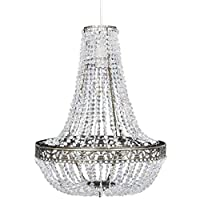 Wakects Crystal Ceiling Lamp, Secorative Classical Chandelier in Elegant Crystal, Modern Ceiling Lamp for Kitchen Loft Dining Room Bedroom, 36.5 x 46 cm