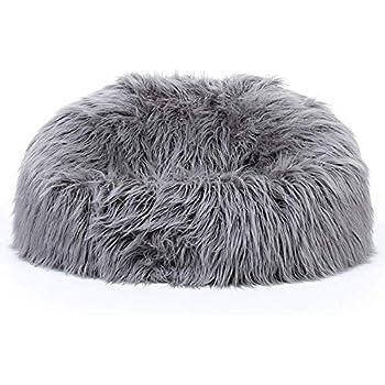 Icon Faux Fur Bean Bag Chair Arctic Wolf Grey Extra