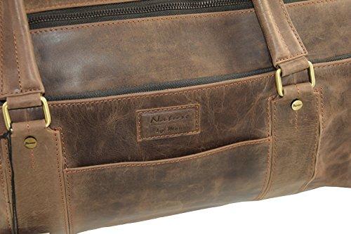 Menzo Handgepäck Reisetasche aus echten Leder mit 2 Zipper, (schwarz) marrone