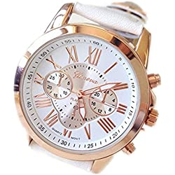 kingko® Uhren,Neue Damenmode Genf roemischen Ziffern-Leder Analog Quarz Armbanduhren