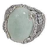 Jade of Yesteryear Design Ring per le donne in argento Sterling 925ossidato Vintage Verde Giada zirconi bianco regalo e argento, 20, colore: verde, cod. SB467417