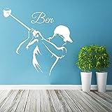 Etiqueta de la pared Jugador de Golf Deporte Vinilo Guardería Personalizado Nombre Personalizado Kids Boy Room Extraíble Decal Poster DIY Decoración 72x72cm
