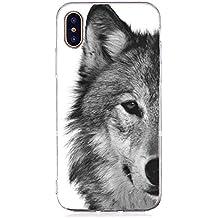 Inonler Lobo indiferente, animal feroz, silicona TPU suave patrón funda para iPhone X, Funda Plata