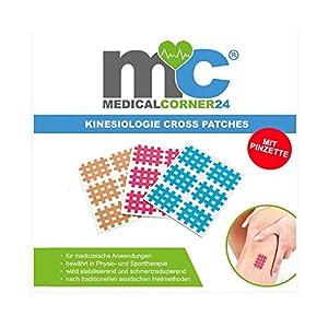 Medicalcorner24® Kinesiologie Gittertape, 102 Cross-Patches inkl. Pinzette, Gitterpflaster, Akupunktur-Pflaster, Gitter Pflaster, Gitter Tape,