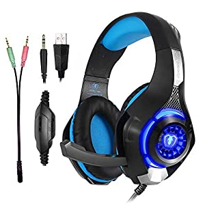 Gaming Headset für PS4 PC, Super Komfortable Stereo Bass 3.5mm LED Gaming Headphones with Microphone for Playstation 4…