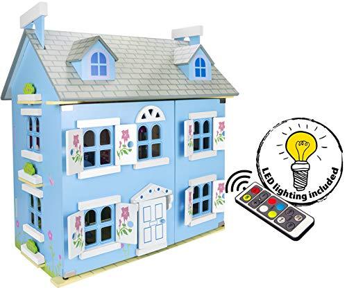 villa sueño mansion casa de muñecas de madera muebles mobiliario bella casita residencia de piso equipo completo excelente calidad accesorios adicionales edición navidad 2019 color azul